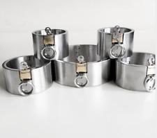 5cm high bondage 5pcs/set neck collar hand ankle cuffs stainless steel Bondage