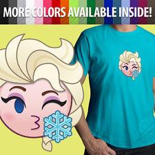 Elsa Kissy Face Blow Kiss Frozen Disney Emoji Unisex Mens Tee Crew Neck T-Shirt