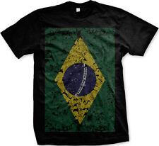 Oversized Distressed Brazlian Flag- Brazil Pride Futbol Mens T-shirt