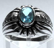 925 ECHT SILBER  *** Ring mit Zirkonia aquamarin-blau , Größenauswahl