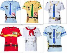 6 Uniform T-shirts, 2 mal Polizei-Feuerwehr-Pilot-Koch-Käpitän im Angebot !!!!!!