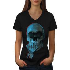 Middle Finger Funny Skull Women V-Neck T-shirt NEW | Wellcoda