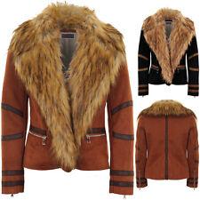 Ladies Long Sleeve Faux Fur Collar Wool Lined Suede PVC Stripe Biker Jacket