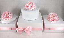 Wooden Wedding Cake Stand Box with Rhinestone Pearl Jewel, White Pink Cake Stand