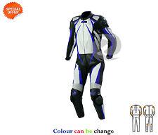 une pièce MOTOGP COURSE VITESSE blanc avec bleu bande COURSE combinaison cuir
