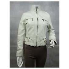 Ladies Dirty White Napa Leather Slim Tight Fitted Short Biker Jacket Bike