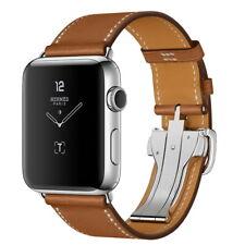 Single Tour Deployment Buckle Leather Bracelet For Apple Watch Band Wrist Strap