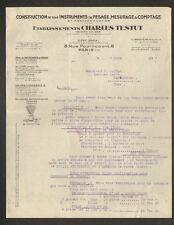 "PARIS (XI°) BALANCE / PESEE / INSTRUMENTS de MESURE ""Ets. Ch. TESTUT"" en 1932"