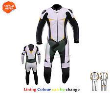 hommes Combinaison de moto cuir blanc noir et jaune revêtement COURSE PISTE SUIT