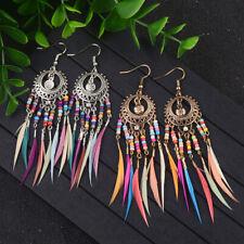 Retro Women's Bohemian Style Round Multicolor Drip Drop/Dangle Feather Earrings