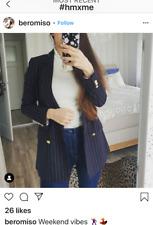 H&M double breasted gold button jacket CHALK STRIPED/dark blue Blazer US 4 2 10