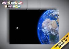 Poster Terre Monde Lune Planète Globe Terrestre Bleu Espace