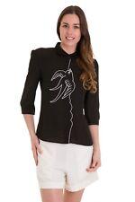 Women's Black Swallows Bird Retro Vintage Blouse Shirt By Banned Apparel