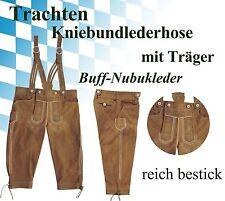 OKTOBERFEST Kniebundlederhose & Träger Trachten Lederhose bestickt beige
