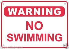 "Warning No Swimming Pool Sign Safety Security Lake Metal Aluminum 10"" x 7"" # 6"