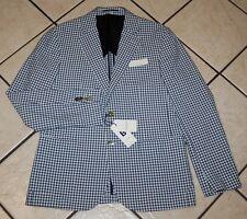 Hardy Amies Men's Keir Sport Coat, JAC011HJ-B, Blue Gingham, Size 42R