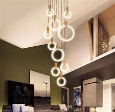 Modern Wood LED Stair Chandelier Lighting Living Room Ceiling Pendant lamps Ring