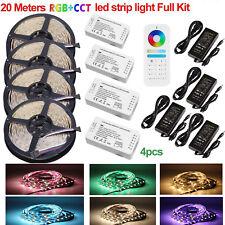 5-20m RGB+CCT LED Streifen Strip Leiste Band + Netzteil + 6-Zone Fernbedienung