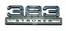 "1979-1995 Ford Mustang Chrome & Blue 383 Stroker Fender Trunk Emblem 4"" x 1.5"""