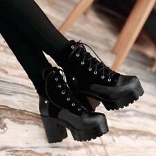 Stylish Vintage Chunky Heel Platform Lace Up Ankle Boot Block Heel US4-11 Zsell