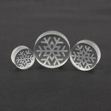 Snowflake Clear Glass Ear Plug Pyrex Stretcher Tunnel 10mm - 30mm