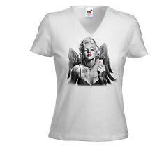 Rockabilly señora T-Shirt Marilyn angel 2 blanco vintage tatoo Poker
