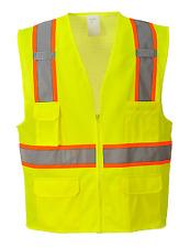 PORTWEST HI-VIS CONTRAST SAFETY VEST SIZE M-3XL ORANGE OR YELLOW US372 CLASS 2