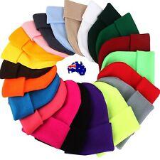 Women Mens Beanie Knit Ski Cap Hip-Hop Blank Colour Winter Warm Unisex plain Hat