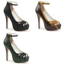 Discontinued PINUP COUTURE Bella-31 Black Brown Green Work Dress Pumps Heels
