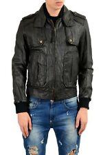 Just Cavalli Men's 100% Leather Black Full Zip Jacket Size XS M