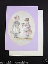 #E877- Unused Tasha Tudor Greeting Note Card Girls in Pink Petticoats & Flowers