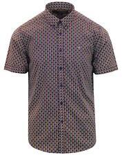 Hombre Merc London Retro Lunares/Rayas Camisa Manga Corta Barraca - Azul Marino