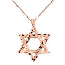 14k Rose Gold Textured Star of David Pendant Necklace