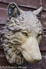 Wolf Head wall plaque frost proof stone garden ornament decorative plaque 25cmH