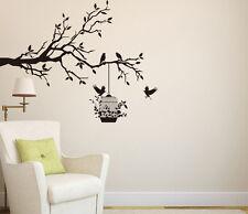 Rami D'albero con uccelli & Gabbia Arte Adesivo Da Parete In Vinile,