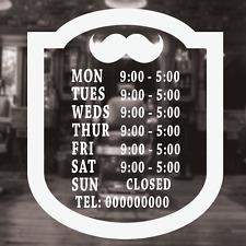 Barber SHOP orari di apertura segno, Barbiere orari Di Apertura Vetrina Adesivo