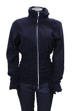 Felpa da donna nera Fler pile manica lunga cerniera zip casual moda
