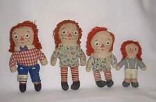 """4 vintage Raggedy Ann & Andy cloth dolls 5""""-7"""" high, Gc"""