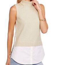 CONCEPTS Womens 2Fer Sleeveless Mock Neck Sweater S M L XL 2XL gray beige