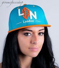 London diamond snapback caps, mens, ladies flat peak baseball hats, hip hop blue