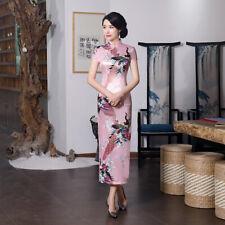 Pink,Sexy Chinese women's traditional silk/Satin long dress cheongsam :Size:S