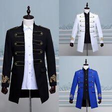 Mens Vintage Military Tunic Court Long Jacket Uniform Top Coat Mess Dress Casual