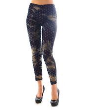 Damen Leggings Hose 7/8 lang Jeans Leggins Lack Kunstleder Optik hinten P-9196