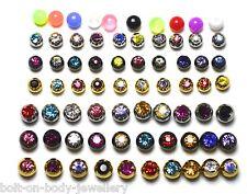 10 Bolas De Reemplazo De Gema De Cristal 1.2 calibre Labret Labio Cejas Nariz Bar