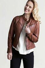 Woman Slim Fit Brown Genuine Real Leather Designer Biker Jacket