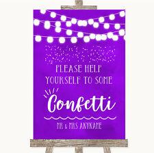 Wedding Sign Poster Print Purple Watercolour Lights Take Some Confetti