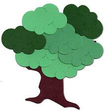 DIE cut ALBERO KIT quercia frassino olmo 2 Marrone Bare ALBERO 12 nuvole verdi Sizzix 11x8.5 cm