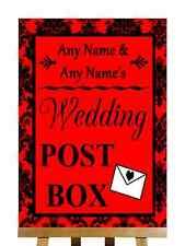Red Black Damask Post Box Personalised Wedding Sign