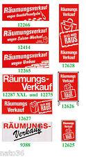 RÄUMUNGSVERKAUF Ankleber Plakat Preisschilder deko Kundenstopper Werbung Reklame