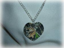 mossy oak breakup real tree camo heart pendant necklace redneck prom wedding